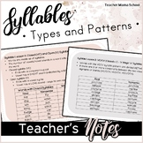 Orton-Gillingham Syllables Word Lists and Notes for Teachers