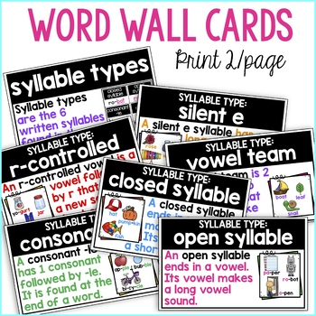Syllable Types Poster/ Syllable Types Anchor Chart & Word Wall Cards