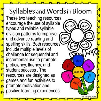 Syllable Types, Syllable Division Patterns & Fun games to build language skills