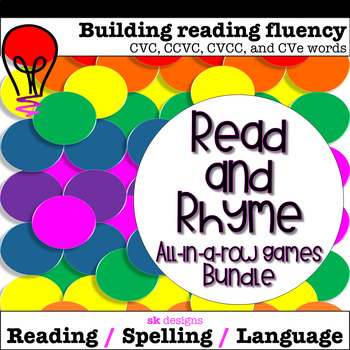 Syllable Types: VC VCe Rhyme, Read, Build Fluency Bingo Game Bundle