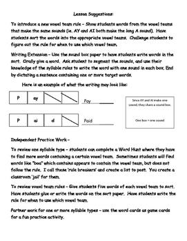 Syllable Types - Vowel Teams (VV words)