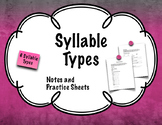 Syllable Types notes and practice sheets