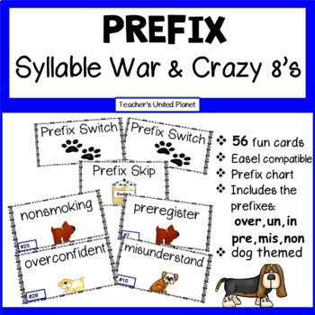 Prefix Syllable War and Crazy 8's- two games in one!