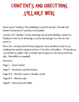 Syllable Webs - Syllable Division with Closed and VCE Words
