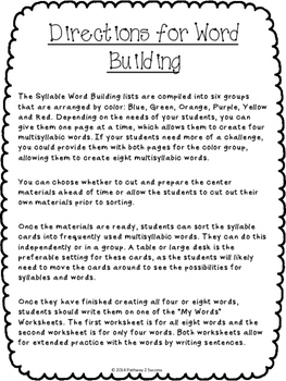 Syllable Word Building - Literacy Center Activities & 96 Syllable Cards