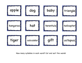 Syllable Word Sort