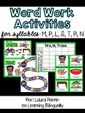 Syllable Word Work in Spanish: M, P, L, S, R, T, N
