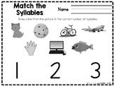 Syllable Worksheet for Preschool and Kindergarten FREEBIE