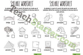 Syllable Worksheets – Colour & BW Sets