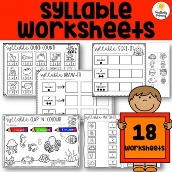 Syllable Worksheets - Including Clap, Count, Sort, Match, Color/Colour