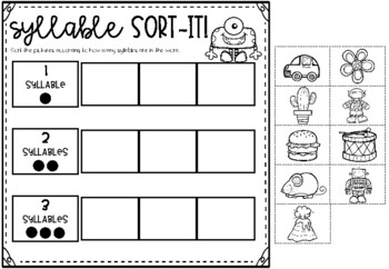 syllable worksheets including clap count sort match color colour. Black Bedroom Furniture Sets. Home Design Ideas
