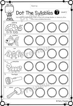 Syllable Worksheets (Phonological Awareness) by Fairy Poppins | TpT