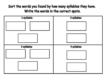 Syllable Write the Room- Includes 3 levels of answer sheets