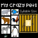 Syllable Sorting Activity - My Crazy Pets