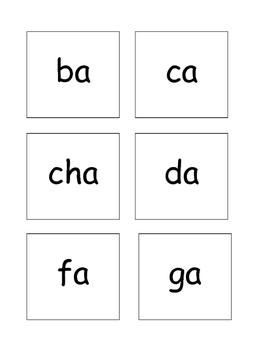 Syllable a cards
