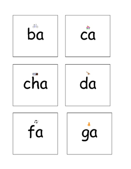 Syllable a cards with picture