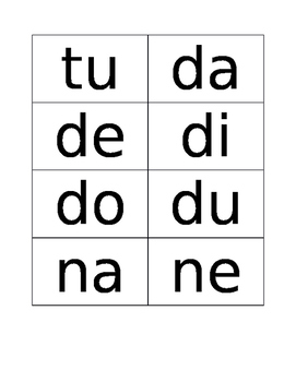 Syllable cards for Spanish reading
