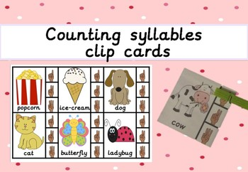 Syllable counting clip cards (self correcting)