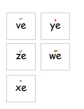 Syllable e cards with pictures