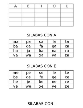 Syllable flashcards in Spanish
