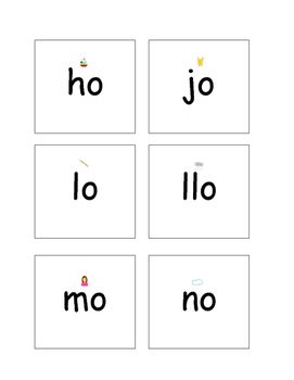 Syllable o cards with picture