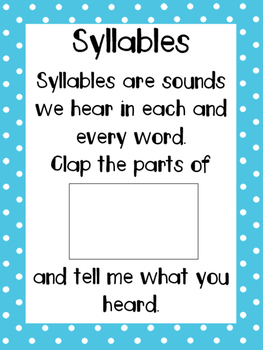 Syllable poster with pictures