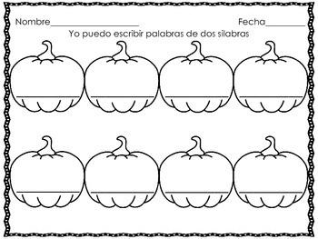 Syllable pumpkin puzzles spanish/ Palabras de 2 silabas