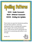 VCCV and VCCCV Spelling Patterns