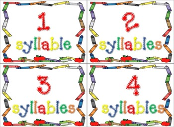Syllable sort monthly activities pack