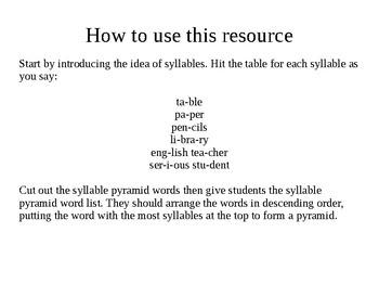 Syllable sort word pyramid