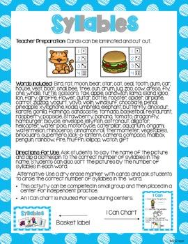 Syllables - Clip Cards Literacy Center
