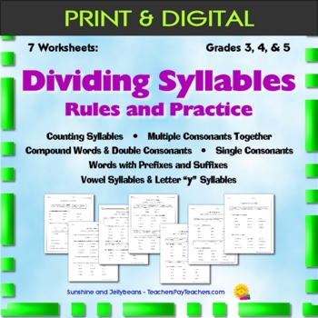 Syllables - 7 Worksheets - Rules & Practice - Grade 3, 4, 5 - Reading/Spelling