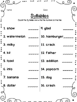 Syllables Assessment