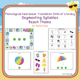 Segmenting Syllables Activities/Worksheets - Beach Theme: Phonological Awareness