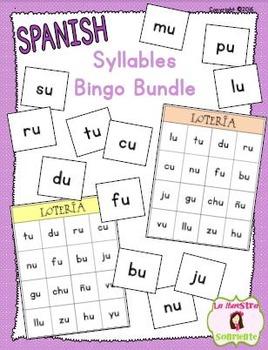 Bingo: Reading Syllables BUNDLE (Spanish)