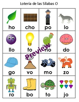 Syllables Bingo by Vowel Groups in Spanish - Lotería de las Sílabas
