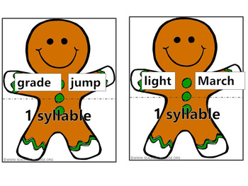 Syllables Build a Gingerbread Man Puzzles