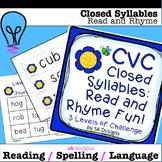 Syllables: CVC Rhyming, Reading, Fluency Fun Activity Game