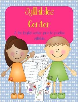 Syllables Center:  A fun center game to practice syllables!