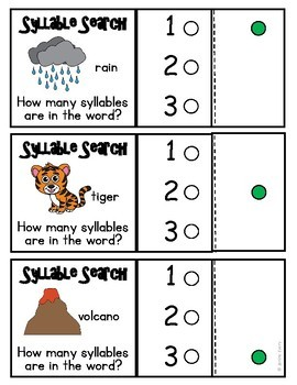 Syllables:  Clip Cards and Printables