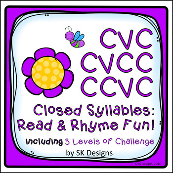 Syllables: Closed Rhyming, Reading, Fluency Fun Game Activ