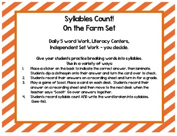 Syllables Count!!   On the Farm