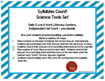 Syllables Count!! Science Tools Set
