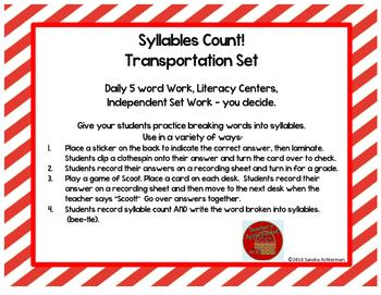 Syllables Count!! Transportation Set