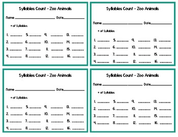 Syllables Count!! Zoo Animals Set