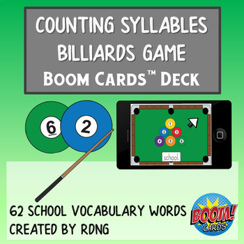 Counting Syllables Billiards Game Boom Cards Deck