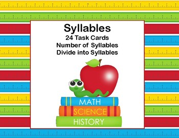 Syllables-Counting and Dividing -Grades 1-2 -Task Cards