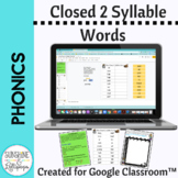 Syllables Creating Closed Two Syllable Words for Google Cl