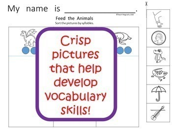 Syllables Cut and Paste No Prep Worksheets