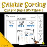 Phonemic Awareness Syllables Cut and Sort No Prep Worksheets